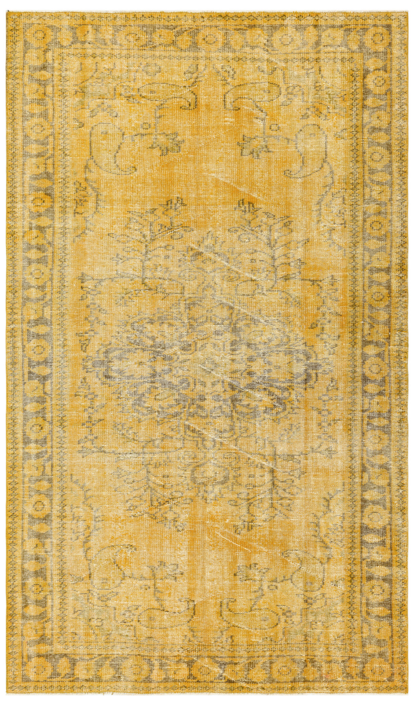 Traditional Design Yellow Over Dyed Vintage Rug 5'6'' x 9'5'' ft 168 x 287 cm