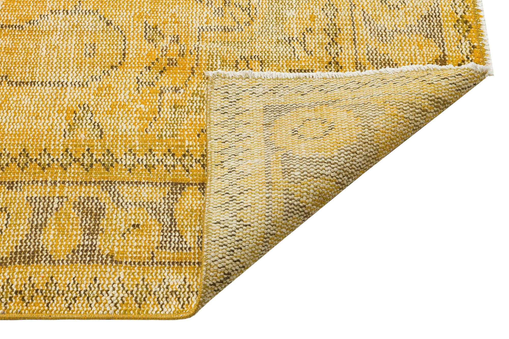 Yellow Over Dyed Vintage Rug 5'6'' x 9'5'' ft 168 x 287 cm