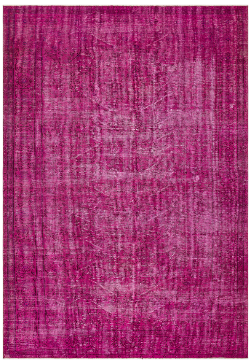 Fuchsia Over Dyed Vintage Rug 6'7'' x 9'5'' ft 201 x 287 cm