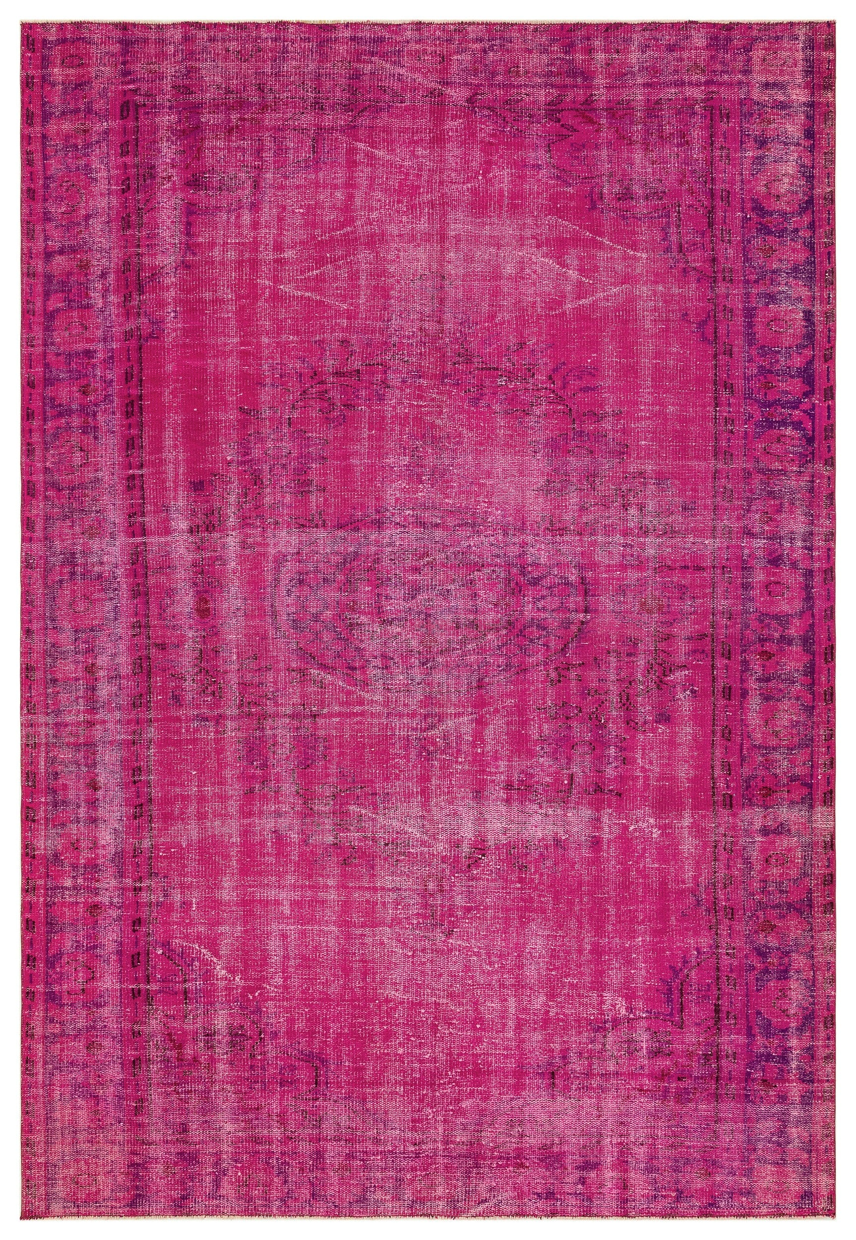 Fuchsia Over Dyed Vintage Rug 6'3'' x 9'2'' ft 190 x 279 cm