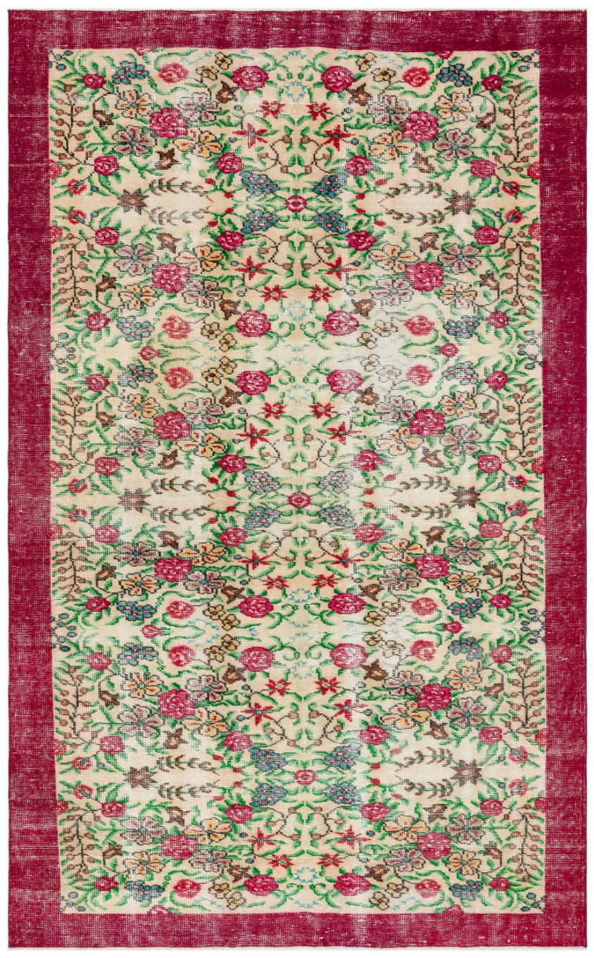 Retro Design Floral Over Dyed Vintage Rug 5'9'' x 9'2'' ft 174 x 279 cm