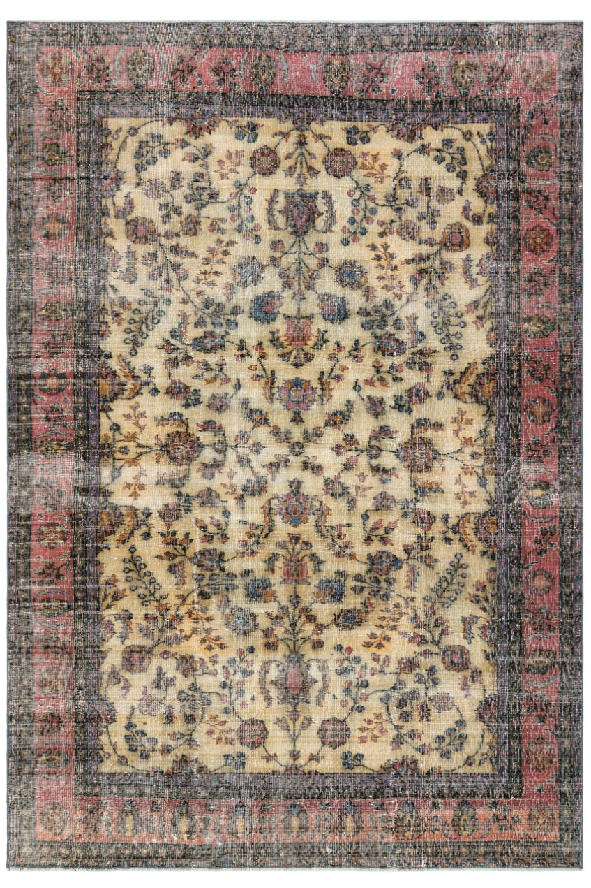 Retro Design Floral Over Dyed Floral Vintage Rug 6'2'' x 9'1'' ft 188 x 276 cm