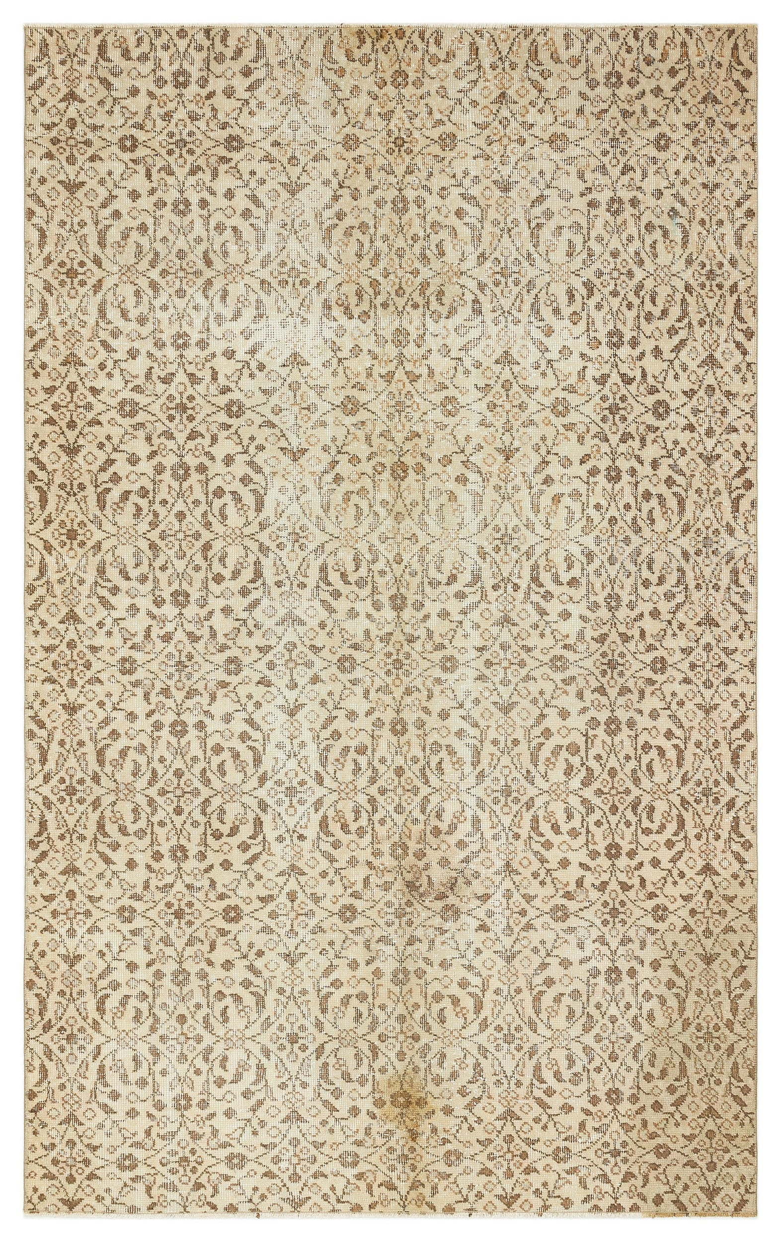 Beige Over Dyed Vintage Rug 4'8'' x 7'9'' ft 143 x 235 cm