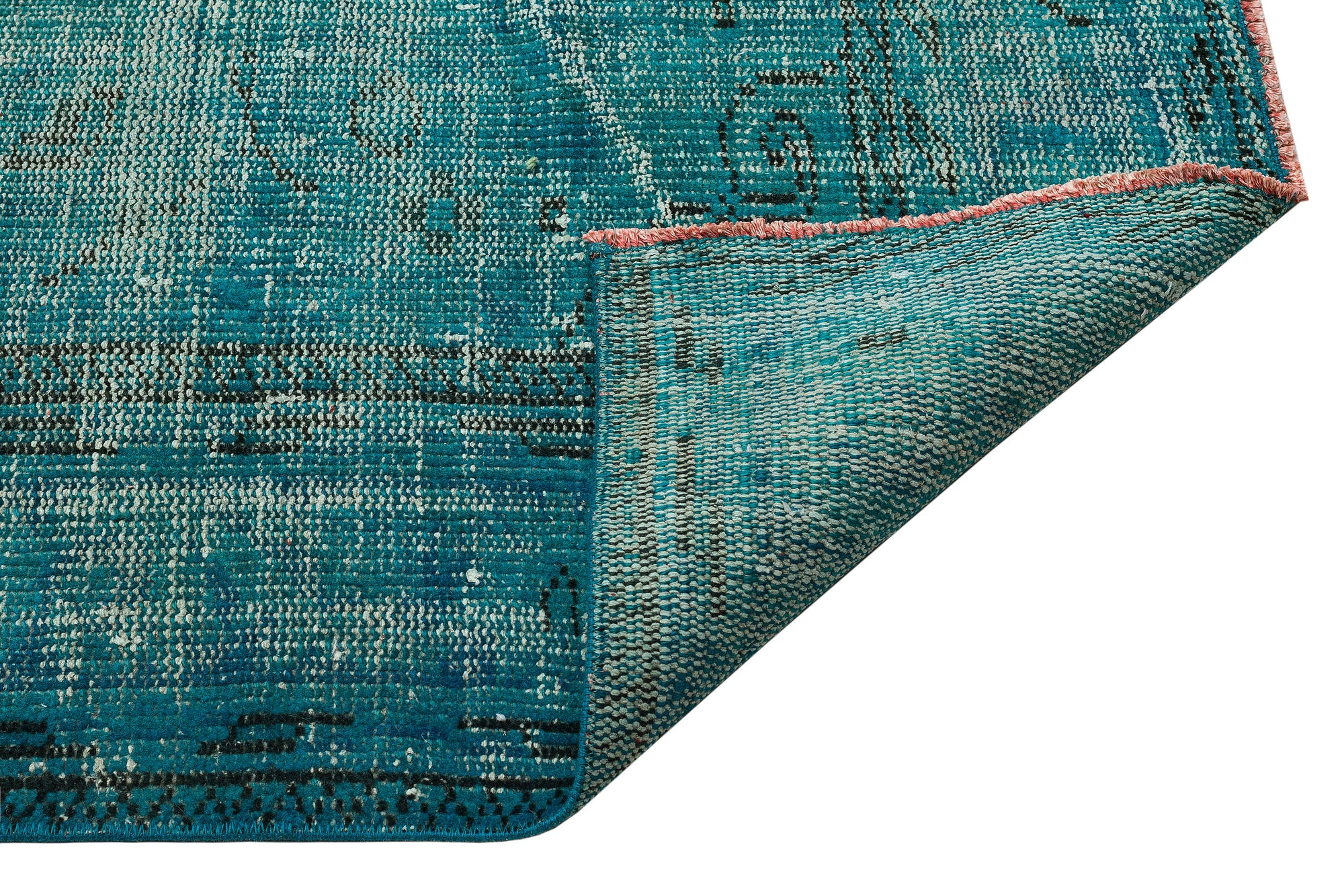 Turquoise  Over Dyed Vintage Rug 5'11'' x 9'2'' ft 181 x 279 cm