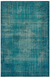 Retro Design Turquoise Over Dyed Vintage Rug 5'11'' x 9'2'' ft 181 x 279 cm