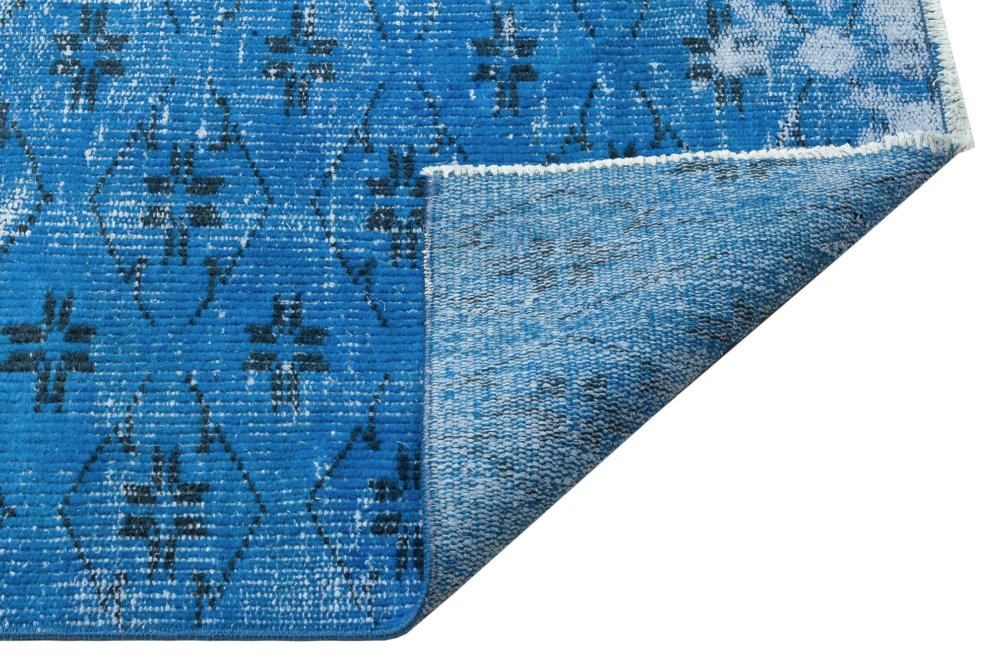 Blue Over Dyed Vintage Rug 5'5'' x 9'3'' ft 164 x 282 cm