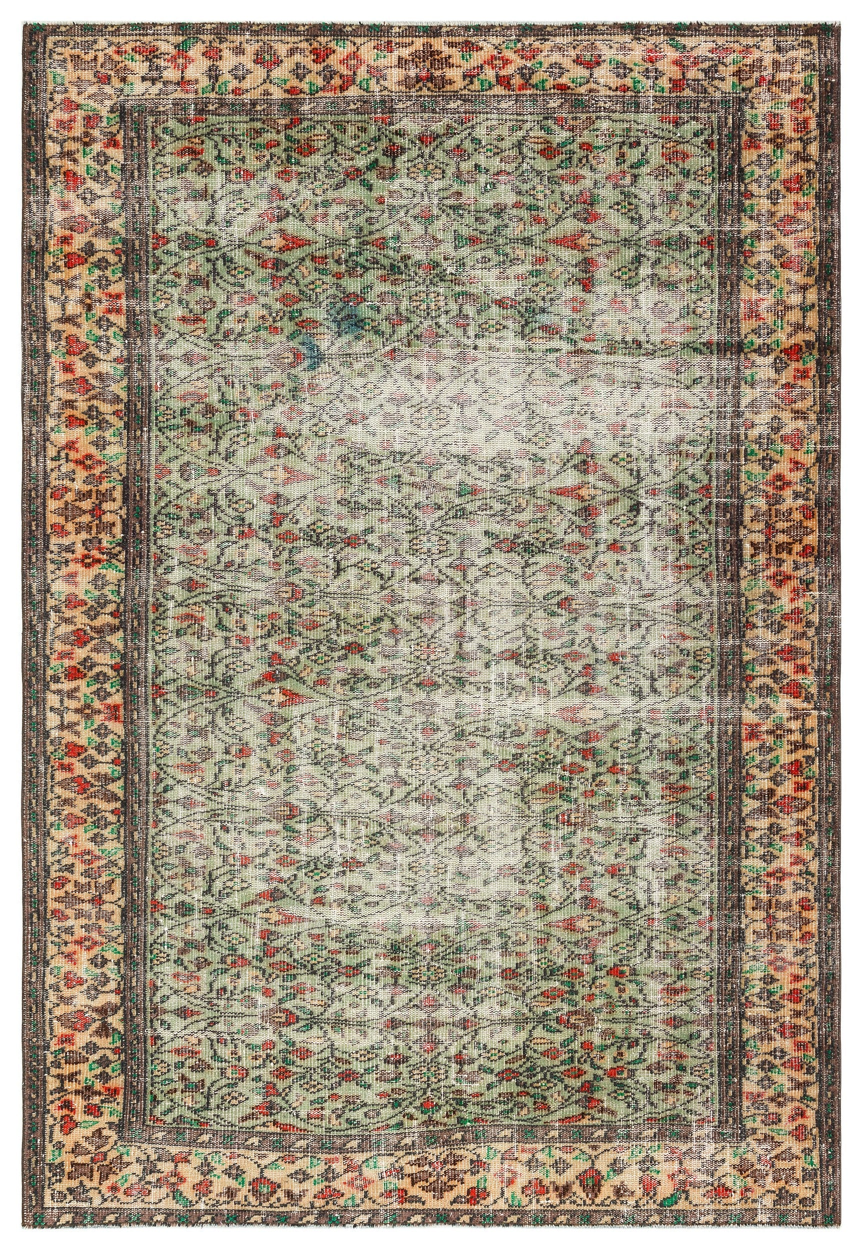 Naturel Over Dyed Vintage Rug 5'12'' x 8'8'' ft 182 x 263 cm