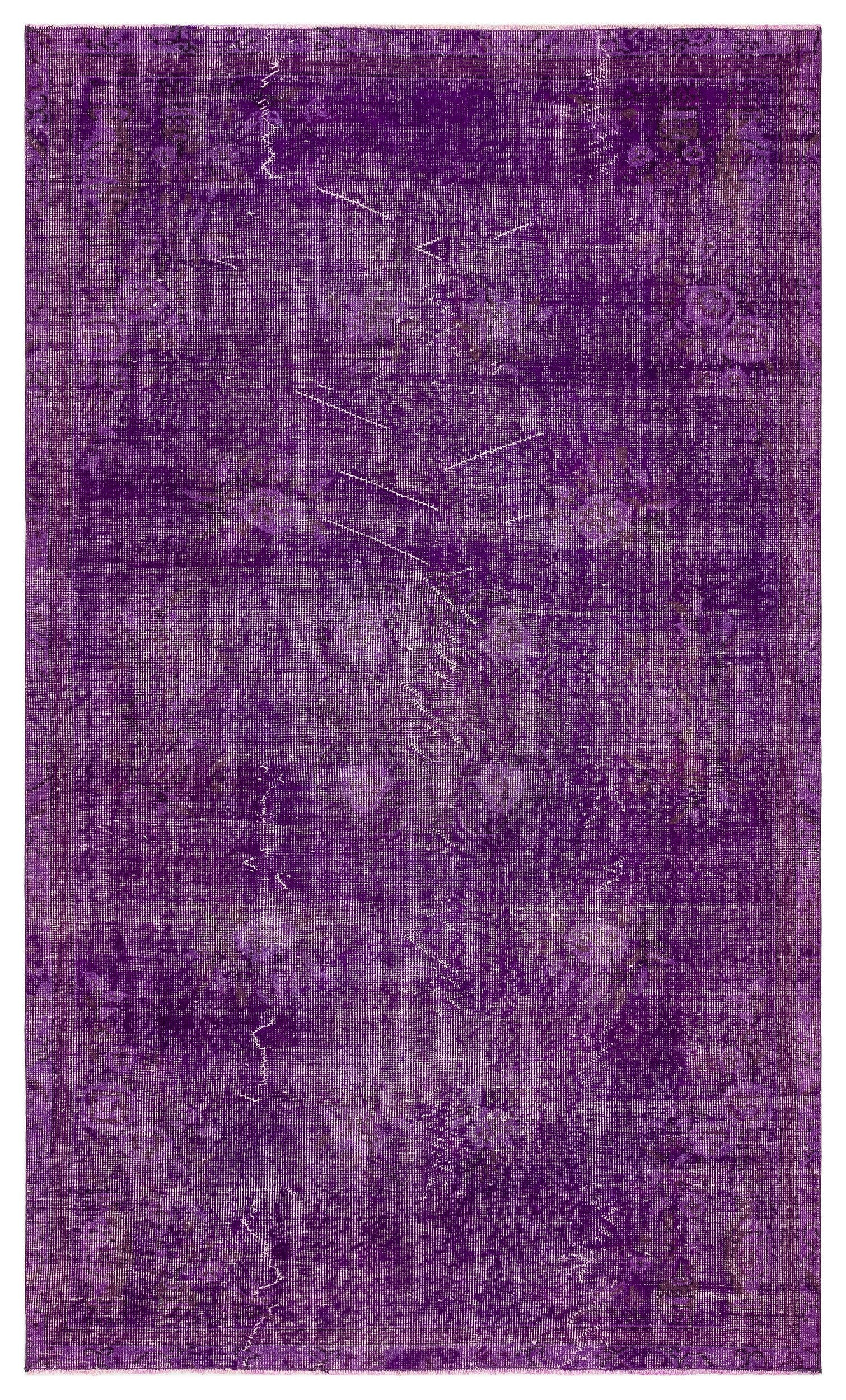 Purple Over Dyed Vintage Rug 4'12'' x 8'5'' ft 152 x 257 cm