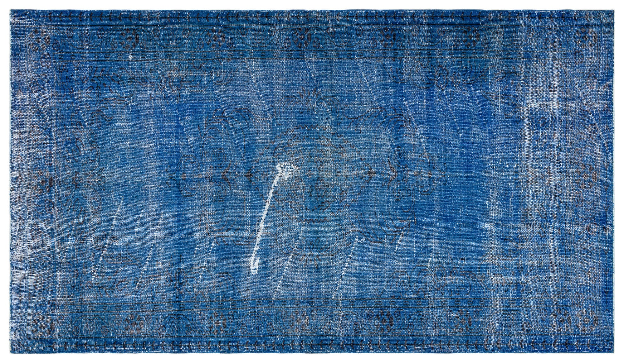 Blue Over Dyed Vintage Rug 5'6'' x 9'8'' ft 168 x 294 cm