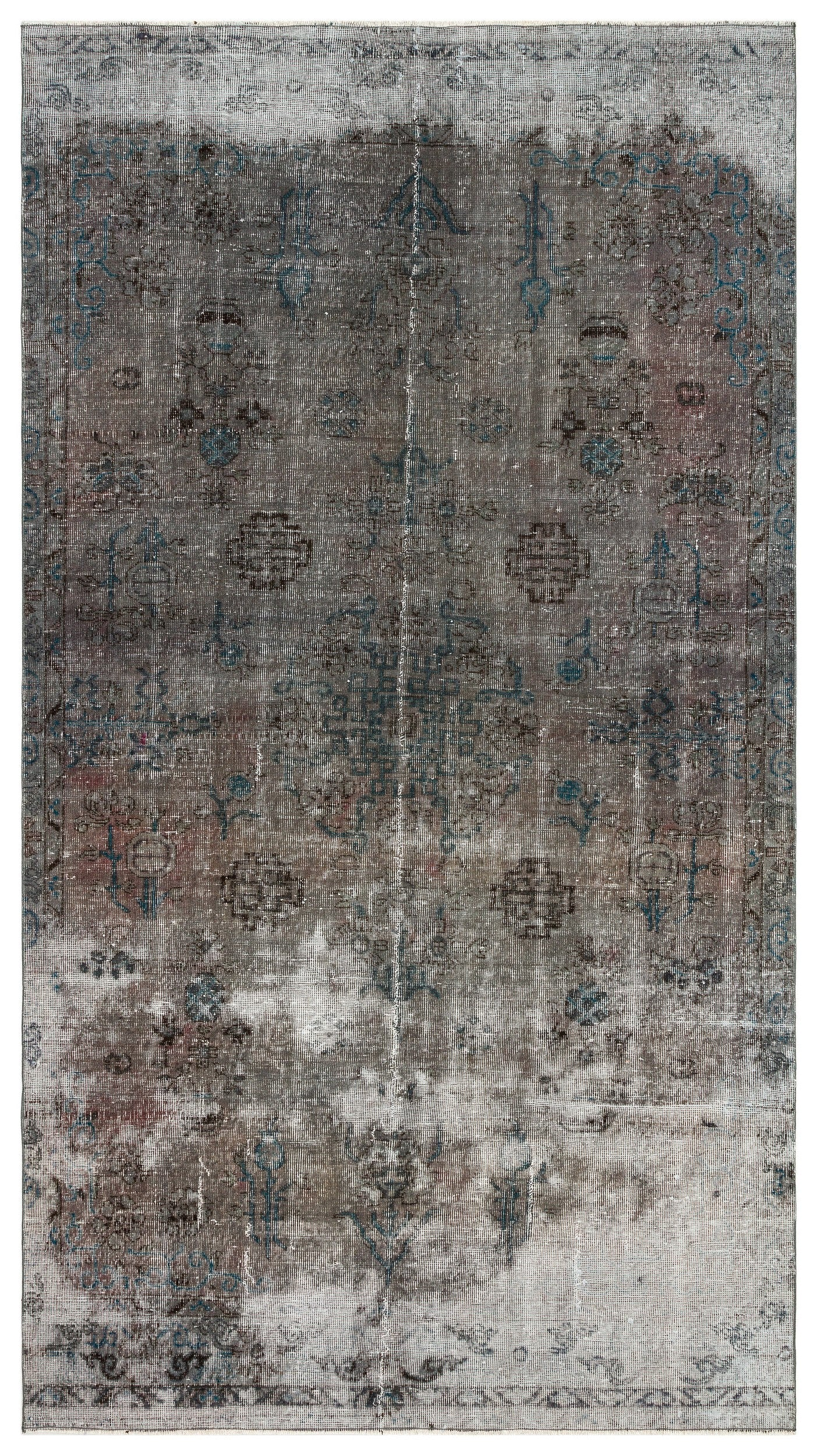 Gray Over Dyed Vintage Rug 5'5'' x 9'9'' ft 166 x 298 cm