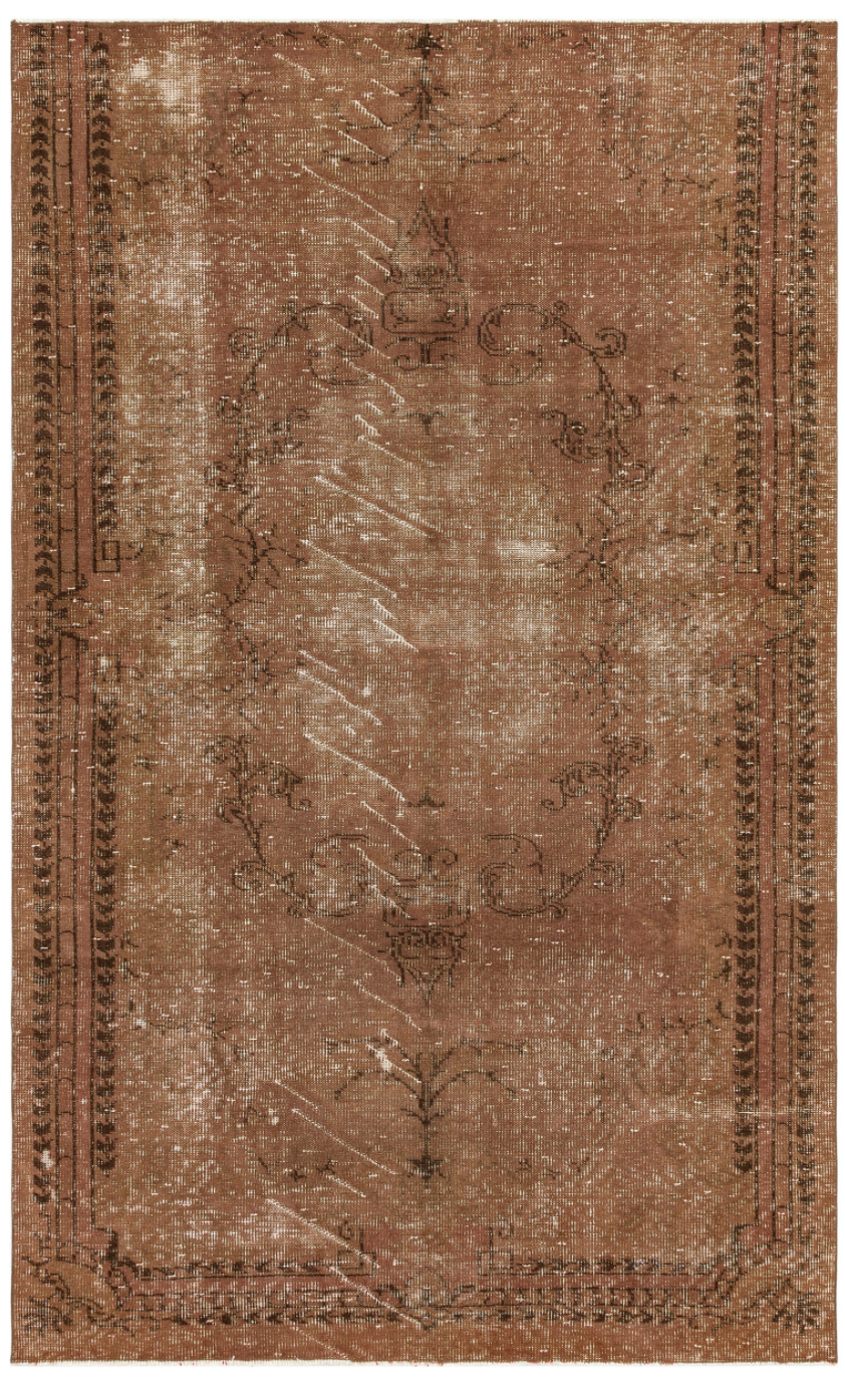 Traditional Design Brown Over Dyed Vintage Rug 5'5'' x 8'9'' ft 165 x 266 cm