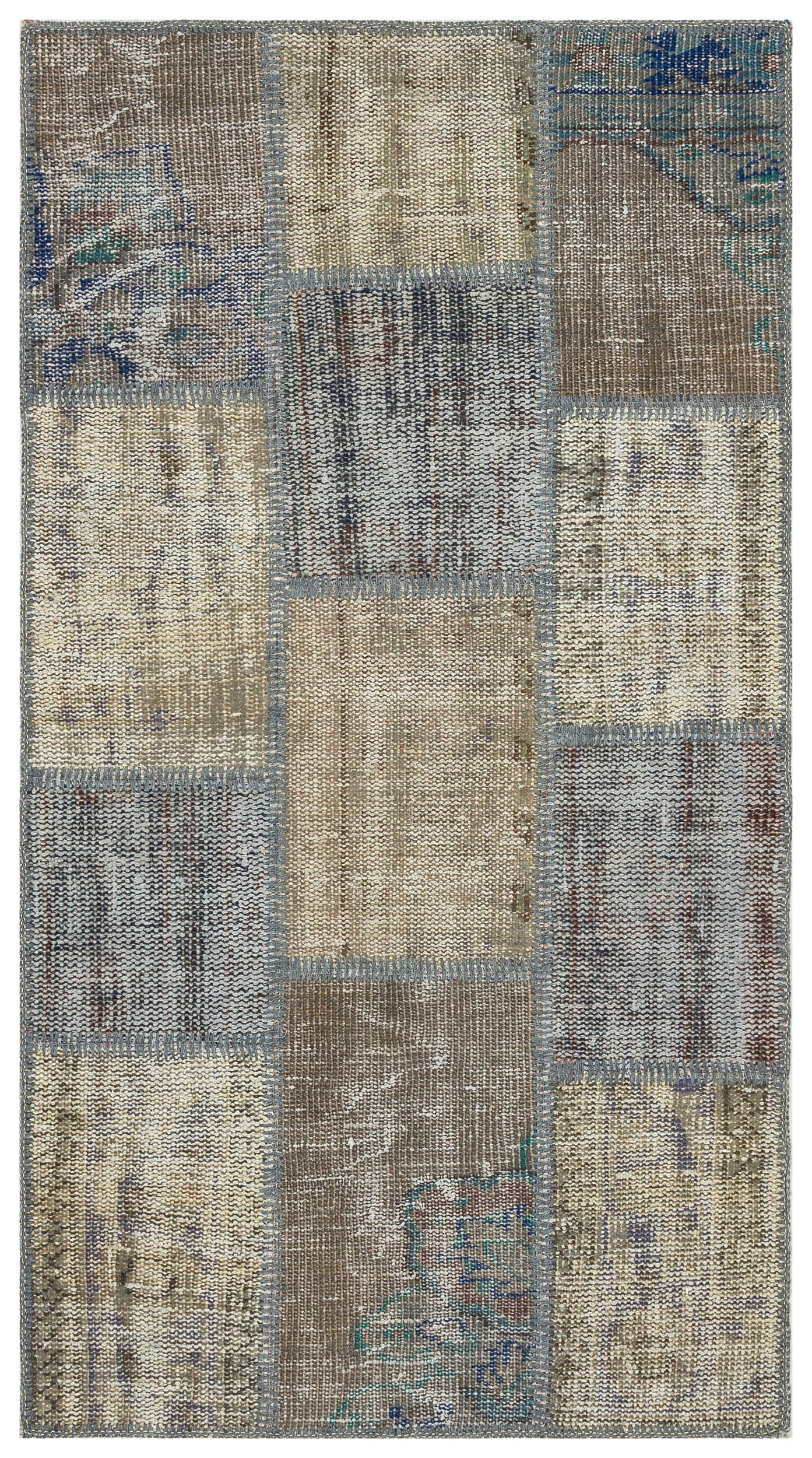 Gray Over Dyed Patchwork Unique Rug 2'8'' x 4'11'' ft 81 x 150 cm