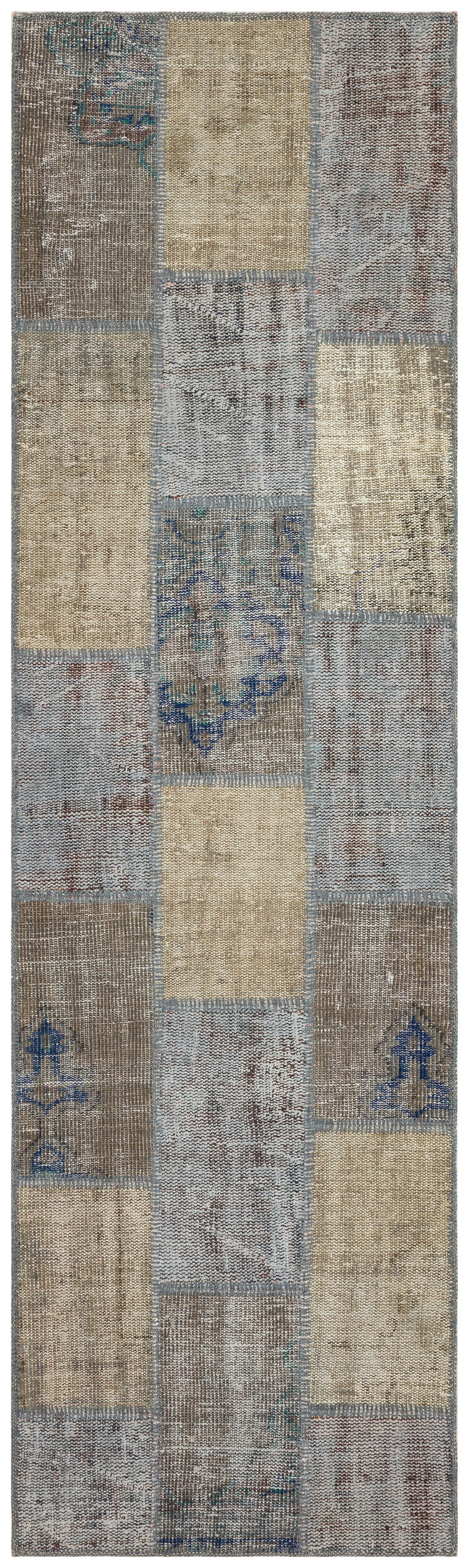 Gray Over Dyed Patchwork Unique Rug 2'8'' x 9'3'' ft 82 x 281 cm