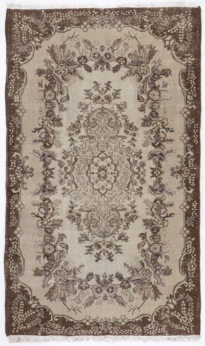 Beige Over Dyed Vintage Rug 5'7'' x 9'7'' ft 171 x 291 cm