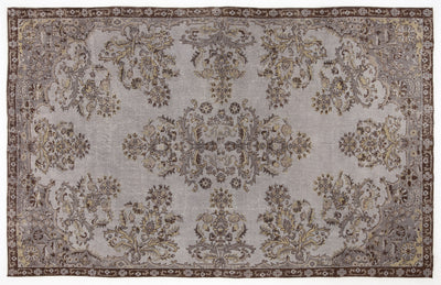 Gray Over Dyed Vintage Rug 6'4'' x 9'10'' ft 193 x 300 cm