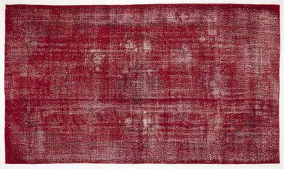 Red Over Dyed Vintage Rug 6'0'' x 10'6'' ft 183 x 319 cm