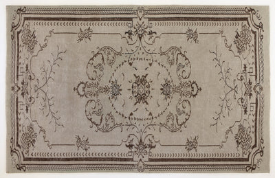 Beige Over Dyed Vintage Rug 5'7'' x 8'12'' ft 171 x 274 cm