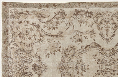 Beige Over Dyed Vintage Rug 5'3'' x 8'9'' ft 161 x 266 cm