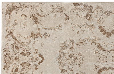 Beige Over Dyed Vintage Rug 4'8'' x 9'1'' ft 142 x 278 cm