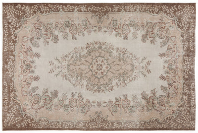 Beige Over Dyed Vintage Rug 6'2'' x 9'5'' ft 188 x 287 cm