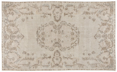 Beige Over Dyed Vintage Rug 5'8'' x 9'6'' ft 173 x 290 cm