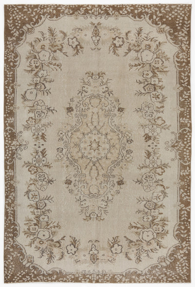 Beige Over Dyed Vintage Rug 6'1'' x 9'1'' ft 186 x 276 cm