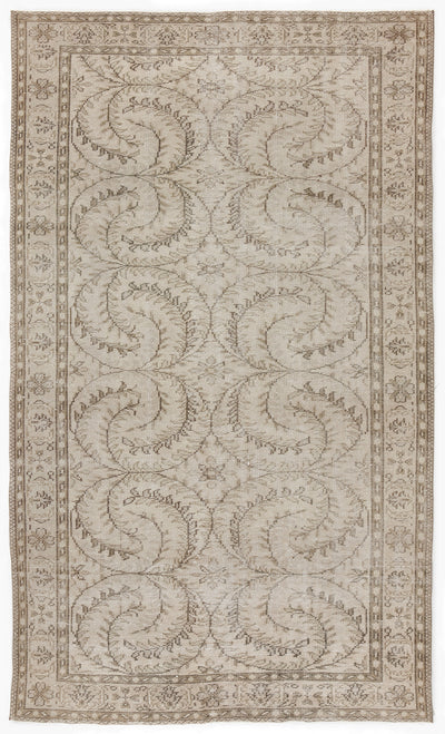 Beige Over Dyed Vintage Rug 5'4'' x 8'11'' ft 163 x 273 cm