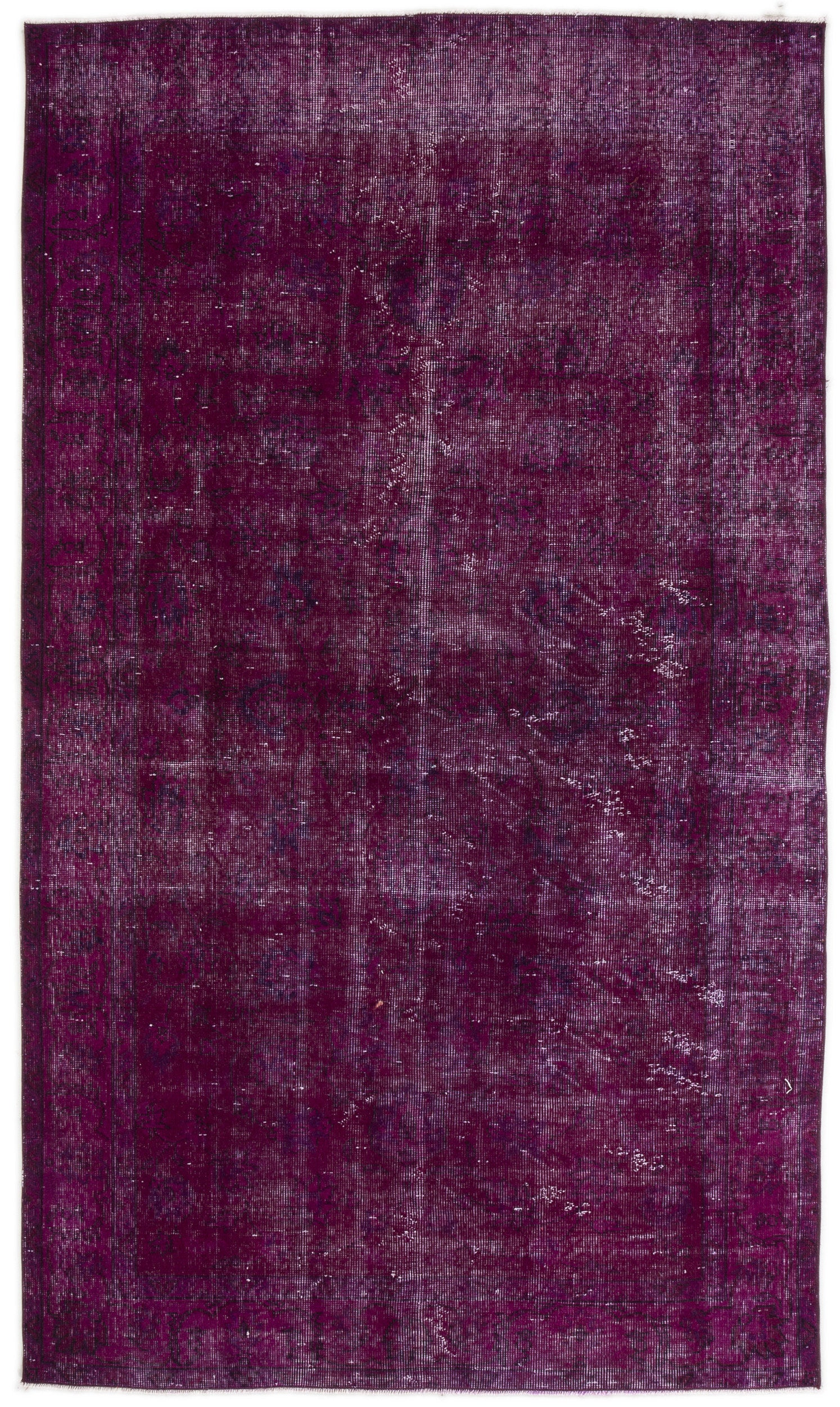 Fuchsia Over Dyed Vintage Rug 4'7'' x 7'11'' ft 140 x 242 cm
