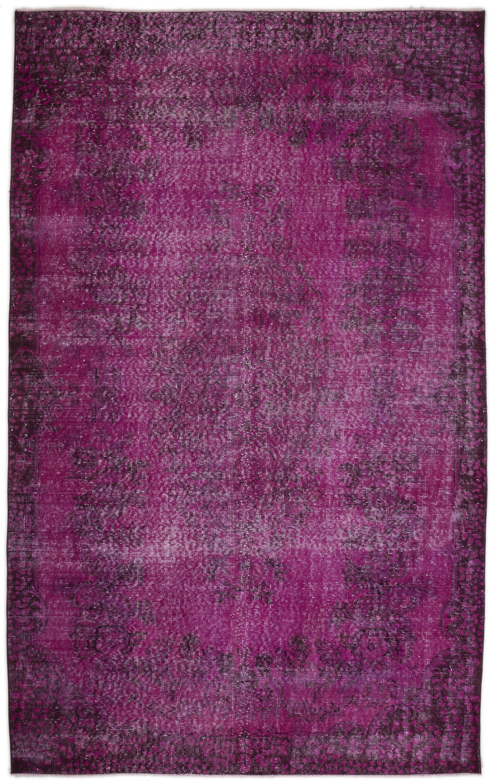 Fuchsia Over Dyed Vintage Rug 5'8'' x 9'1'' ft 172 x 277 cm