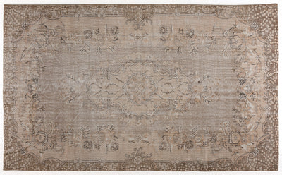 Beige Over Dyed Vintage Rug 5'9'' x 9'6'' ft 175 x 290 cm