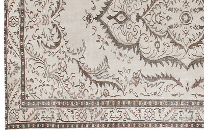 Beige Over Dyed Vintage Rug 5'7'' x 9'4'' ft 170 x 285 cm
