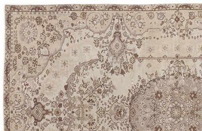 Beige Over Dyed Vintage Rug 5'4'' x 8'8'' ft 163 x 263 cm