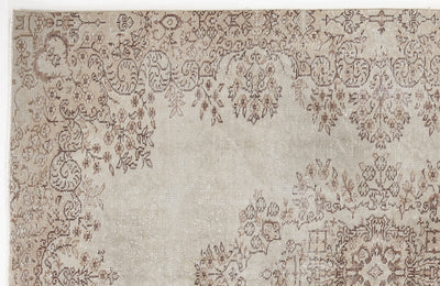 Beige Over Dyed Vintage Rug 5'10'' x 8'10'' ft 177 x 270 cm
