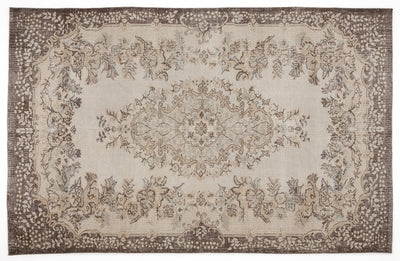 Beige Over Dyed Vintage Rug 6'1'' x 9'9'' ft 186 x 296 cm