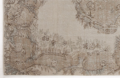 Beige Over Dyed Vintage Rug 5'11'' x 9'5'' ft 181 x 287 cm