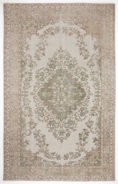 Beige Over Dyed Vintage Rug 5'12'' x 9'5'' ft 182 x 287 cm