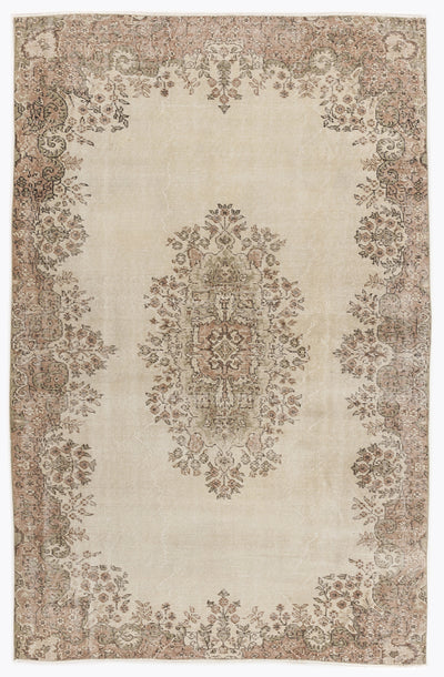 Beige Over Dyed Vintage Rug 5'4'' x 8'3'' ft 162 x 252 cm