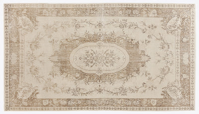 Beige Over Dyed Vintage Rug 5'7'' x 10'3'' ft 170 x 312 cm