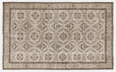 Beige Over Dyed Vintage Rug 5'4'' x 8'9'' ft 163 x 266 cm