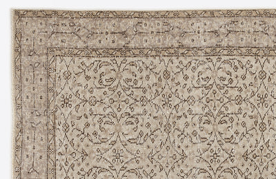 Beige Over Dyed Vintage Rug 5'10'' x 9'1'' ft 179 x 277 cm