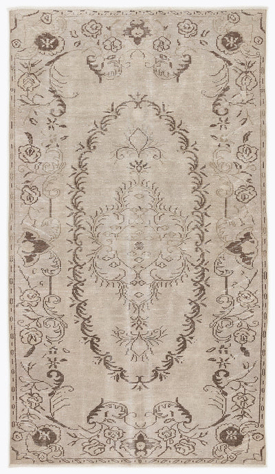 Beige Over Dyed Vintage Rug 4'11'' x 8'9'' ft 151 x 267 cm