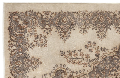 Beige Over Dyed Vintage Rug 5'10'' x 9'1'' ft 178 x 276 cm