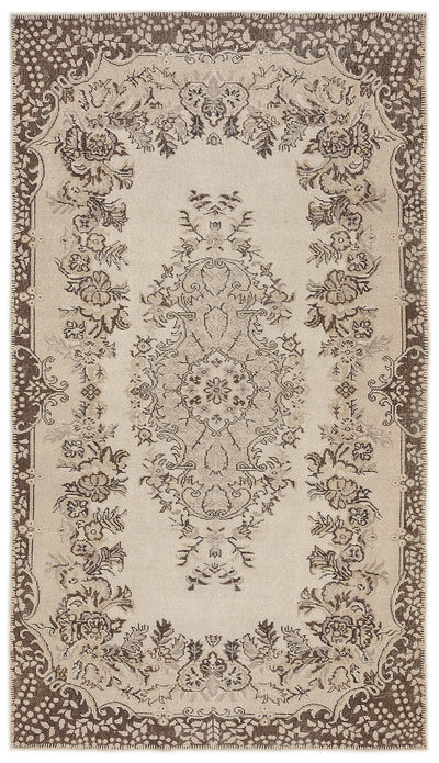 Beige Over Dyed Vintage Rug 5'3'' x 9'3'' ft 160 x 281 cm