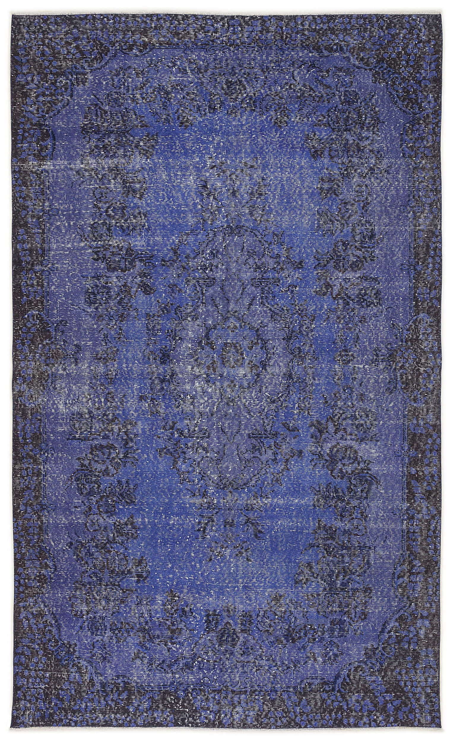 Blue Over Dyed Vintage Rug 5'8'' x 9'5'' ft 173 x 286 cm