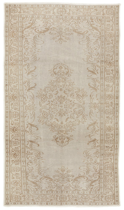 Beige Over Dyed Vintage Rug 4'11'' x 8'8'' ft 150 x 264 cm