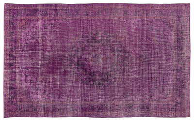 Fuchsia Over Dyed Vintage Rug 6'7'' x 10'11'' ft 201 x 334 cm