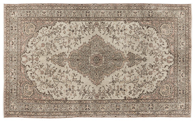 Beige Over Dyed Vintage Rug 5'4'' x 8'11'' ft 162 x 272 cm