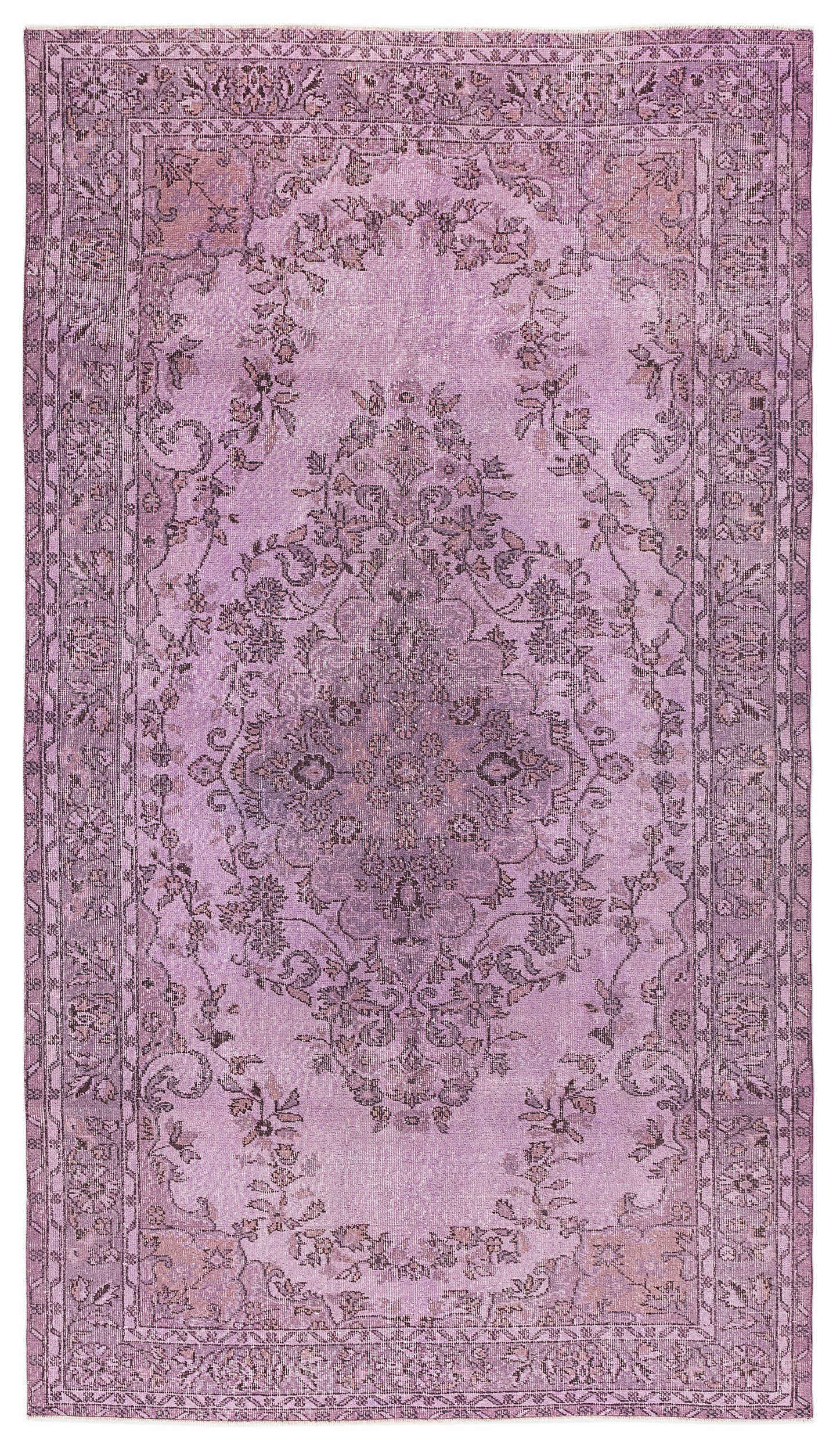 Pink Over Dyed Vintage Rug 5'5'' x 9'6'' ft 164 x 290 cm