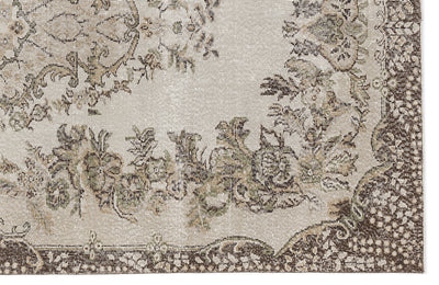 Beige Over Dyed Vintage Rug 5'8'' x 9'3'' ft 173 x 281 cm