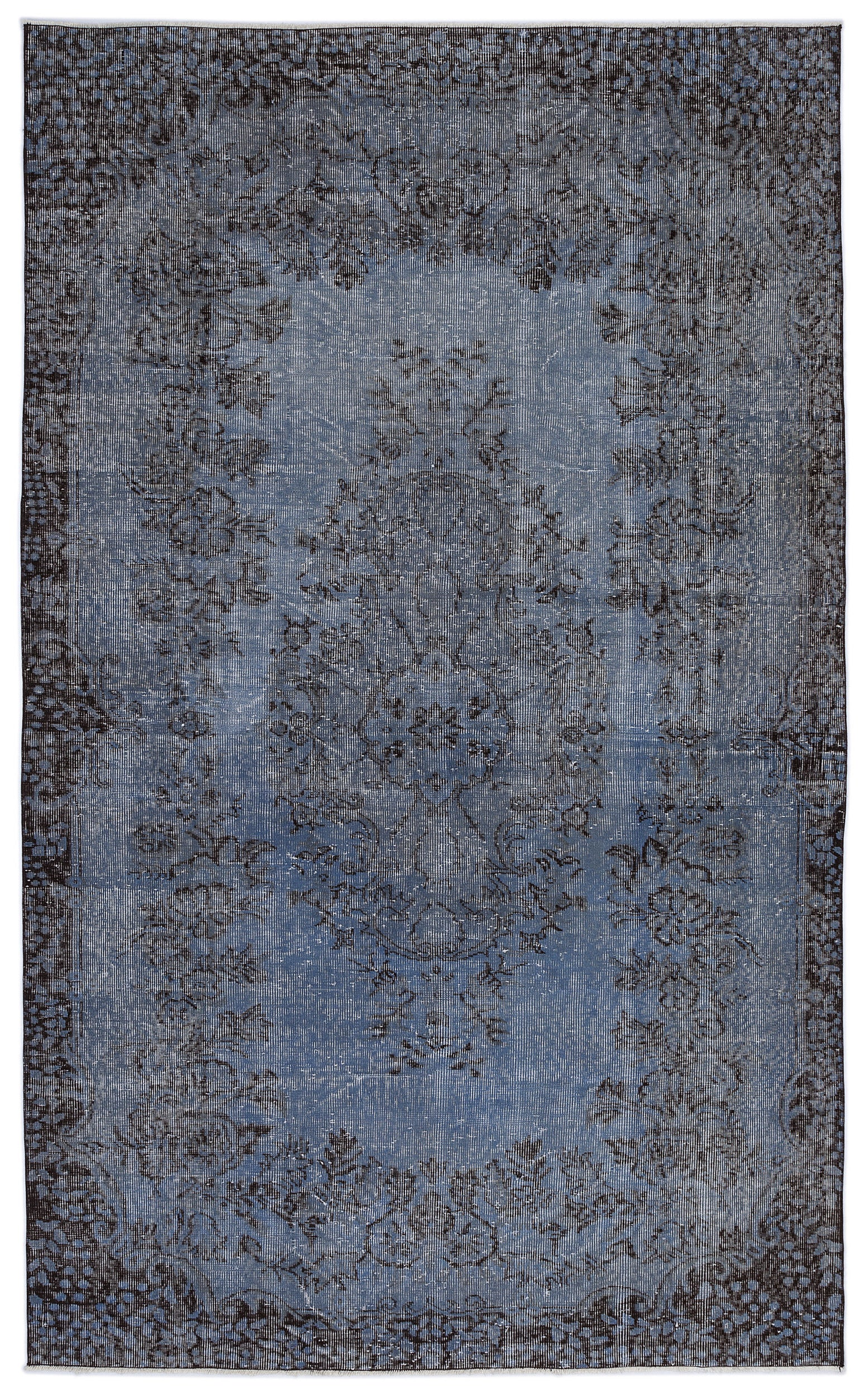 Blue Over Dyed Vintage Rug 5'8'' x 9'4'' ft 173 x 285 cm